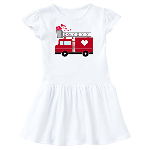 inktastic - Valentine's Day Red Firetruck with Pink Toddler Dress 2T White 2873d