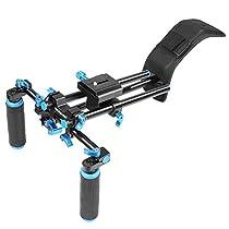 NEEWER® DSLR Shoulder Mount Support Rig with Camera/Camcorder Mount Slider, Shoulder Lift Set, Double-hand Handgrip and C-shaped Holder Set For All Video Cameras and DV Camcorders