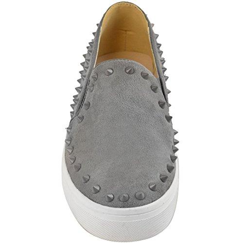 Forme A Mujer El Perno Prisionero De Los Planos Planos De Las Zapatillas Ocasionales De La Plataforma Las Zapatillas De Deporte Del Tamaño Grey Faux Suede