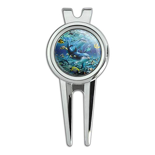 GRAPHICS & MORE Coral Reef Diving Dolphin Pals Diving Golf Divot Repair Tool and Ball Marker
