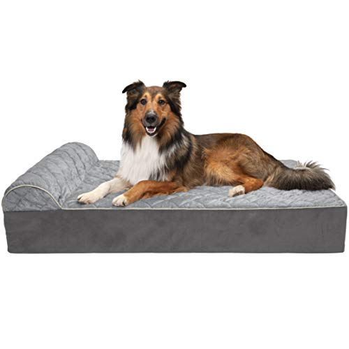 (FurHaven Pet Dog Bed | Orthopedic Goliath Quilted Chaise Couch Pet Bed for Dogs & Cats, Gray, 2XL)