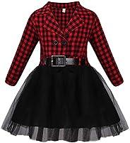 AmzBarley Toddler Dresses Girl Summer Plaid Dress Short/Long Sleeve Clothes Skirt Little Girls Tulle Dress