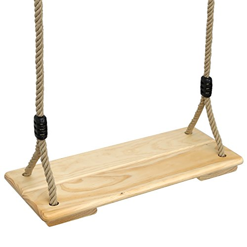 Wooden Outdoor Swing - Pellor Wooden Swing Seat Indoor and Outdoor Hanging Seat Max Load 100KG (Rope Max: 210cm, burlywood)