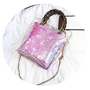 Summer Small Handbag Transparent Women Hand Bags Chain Straw bag Lady Travel Beach Shoulder Bag Holiday,Pink