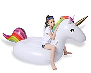 Jasonwell big inflatable unicorn pool float floatie ride - Amazon inflatable swimming pool toys ...
