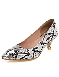 KingRover Women's Sexy Snake Skin Kitten Heel Office Pumps Pointed Toe Slip On Plus Size Dress Party Wedding Shoes