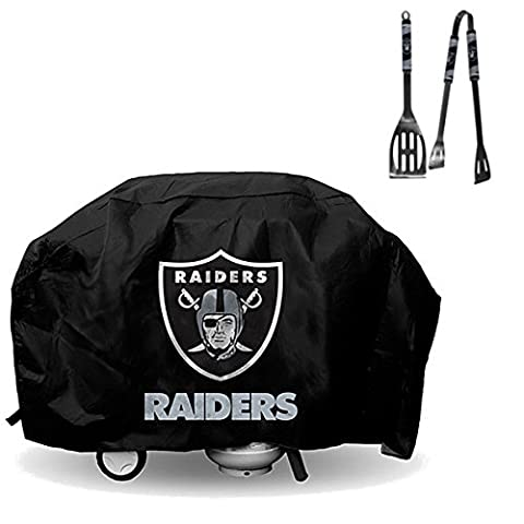 Official National Football Fan Shop Authentic NFL Large 68 inch Heavy Duty Vinyl Grill Cover and 2 Pc 12 Inch BBQ Utensil Bundled Set (Oakland - Vinyl Barbecue Cover
