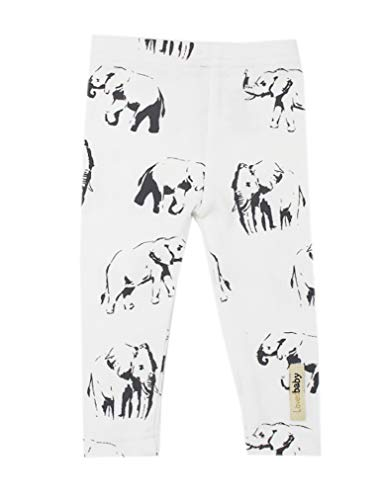 (L'ovedbaby Unisex-Baby Organic Cotton Leggings (3-6 Months, White Elephant))