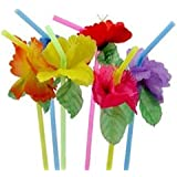 36 Colorful FLOWER HIBISCUS Straws/LUAU PARTY DECOR/Tropical Polyester Florals/3 Dozen/TABLE Beverage DECORATIONS