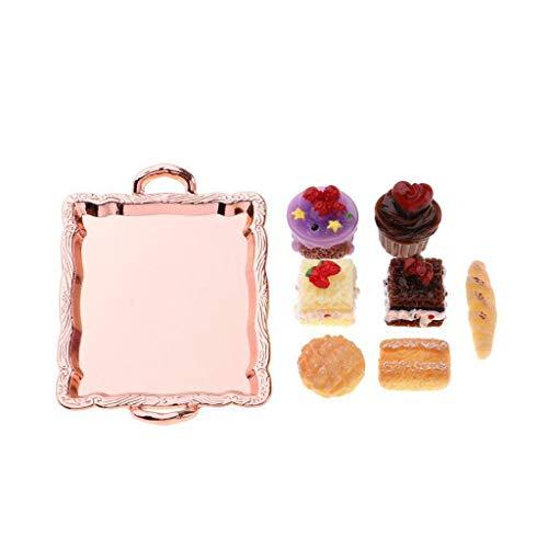 (NATFUR 1/12 Dollhouse Miniature Cake Set in Cake Pan for Kitchen -Rose Golden Tray)