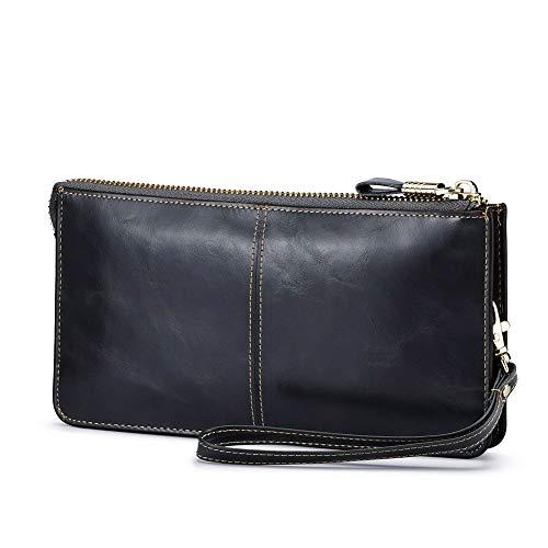 - Lecxci Luxury Womens Genuine Leather Clutch Cell Phone Handbags, Zipper Wristlets Wallets Purse for Women (Dark Gray RFID Blocking)
