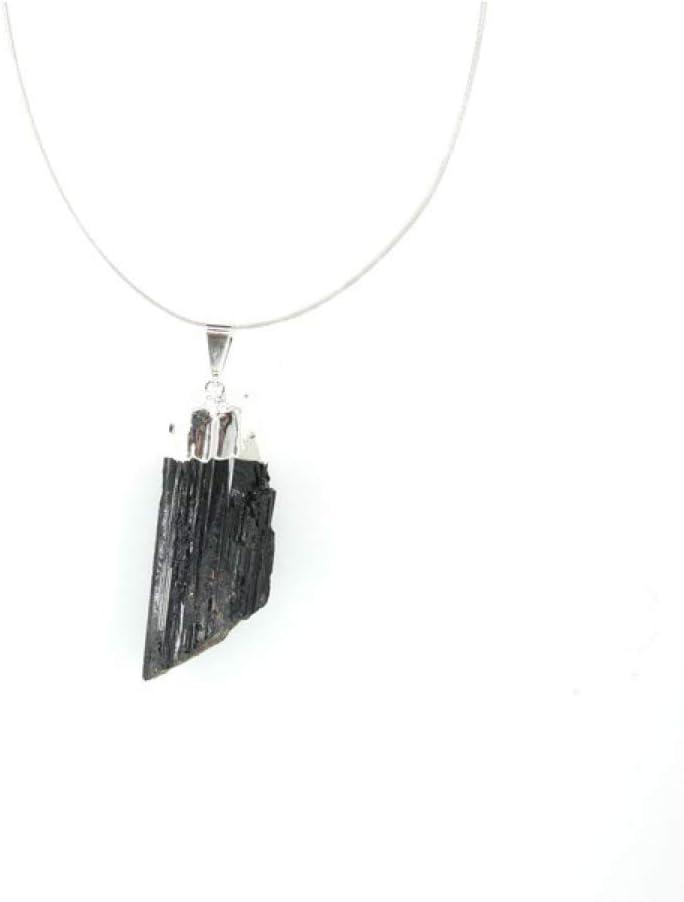 Colgante de Turmalina Negra en Bruto 2 - Baño de Plata Minerales y Cristales, Belleza energética, Meditacion, Amuletos Espirituales