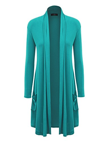 MBJ WSK1177 Womens Solid Long Cardigan with Pockets L JADE