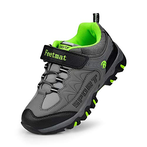 - Feetmat Boys Hiking Shoes Waterproof Athletic Trail Running Sneakers for Boys Dark Gray 3.5