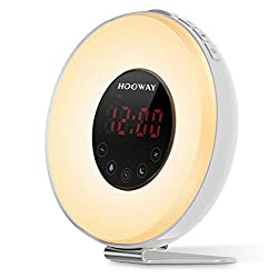 Wake Up Light Alarm Clock,Hooway Sunrise Alarm Clock with FM Radio & Snooze Function For Adults & Kids,Loud Sound for Heavy Sleepers,7 Colors Changing Used for Night Light/Mood Light