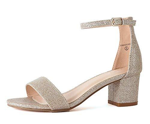 Bella Marie Women's Strappy Open Toe Block Heel Sandal, Champagne, 7.5 M US ()