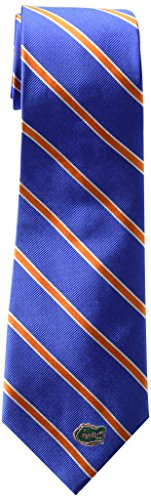 NCAA Florida Gators Mens Woven Silk Thin Stripe Collegiate Logo Tie 2, Royal and Orange, One - Ncaa Stripes Gators Florida