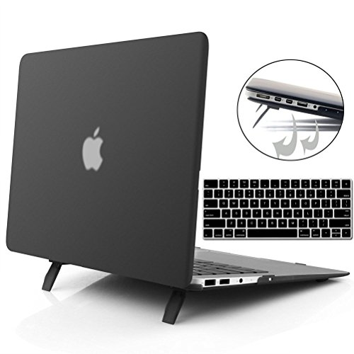 Coxtech Macbook Pro Retina 13 inch Rubberized Hard Case Cover for Macbook Pro 13 inch with Retina Display A1502 A1425 Case Shell NO CD-ROM with Foldable Stand Keyboard Cover Black by Coxtech