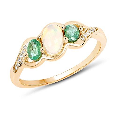 FB Jewels 0.61 Carat Genuine Ethiopian Opal Zambian Emerald and White Diamond 14K Yellow Gold Birthstone Ring Birthstone Ring Size 7.00