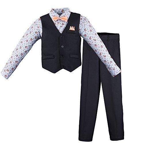 Vest Suit Set (Vittorino Boys 4 Piece Suit Set With Vest Shirt Tie Pants and Hankerchief, Navy - Light Blue Floral, 16)