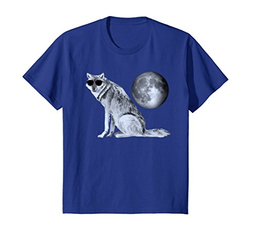 Kids Cool Wolf Aviator Sunglasses Chillin' Under The Moon T-Shirt 12 Royal - Sunglasses Blue Moon