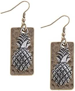 TRENDY FASHION JEWELRY PINEAPPLE CHARM RECTANGLE EARRINGS BY FASHION DESTINATION