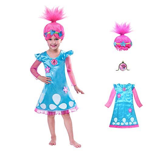 Trolls?Costume?GREATCHILDREN?Trolls?Poppy?Cosplay??Halloween?Clothing?Clothes?Kids?Fancy?Girl?Dress?Wig?Necklace?]()