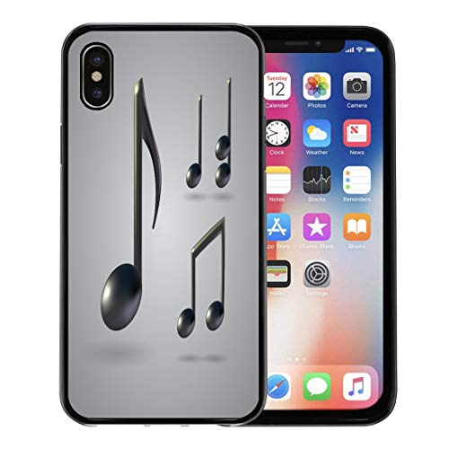 Emvency Phone Case for Apple iPhone Xs Case/iPhone X Case,Realistic Black Song Music Note White Half Artistic Bass Soft Rubber Border Decorative, Black