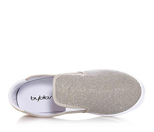 BYBLOS - Goldene Slipper aus Stoff, seitlich elastische Einsätze, Logo auf dem hinteren Einsatz aus Leder, sichtbare Nähte und Gummisohle, Mädchen, Damen