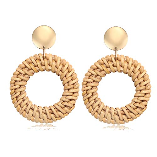 - TIKCOOL Rattan Hoop Earrings for Women Straw Weaving Earrings Braid Earrings Circle Drop Dangle Earrings Lightweight Wicker Earrings Bohemian Handwoven Rattan Jewelry (Hoop-Dark)