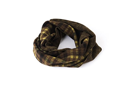 Scarf, Circle Scarf, Infinity Scarf, Loop, Neck, Snood, Women, Men, Unisex, Wool, Boiled Wool, Brown, Yellow, Tartan, Checkered, One size, Handmade in Florence, Made in Italy, Italian - Style Preppy Hipster