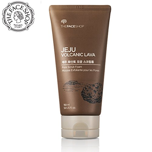 THEFACESHOP Jeju Volcanic Lava Pore Exfoliator Foaming Scrub For Facial Blackhead Cleansing 150 mL 5.0 Oz