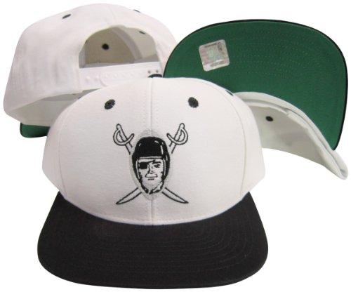 Reebok Oakland Raiders Old Logo White/Black Two Tone Plastic Snapback Adjustable Plastic Snap Back Hat/Cap