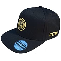 F.C. Inter de Milan Casquette officielle à visière plate avec Logo doré - Style Hip Hop