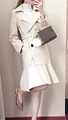 Slim Volant Vintage Cappotto Donna Giaccone Fit Eleganti Cappotti Bianca Manica Outerwear Double Breasted Inclusa Lunghi Cintura Invernali Lana Lunga Bavero Calda Con FPXwnn6qyf