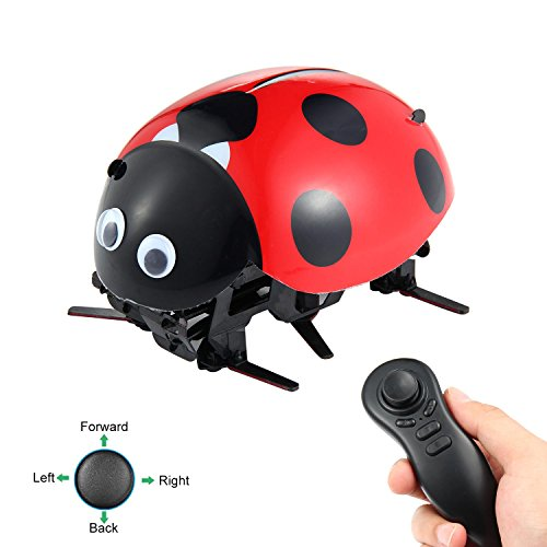 Ladybug Remote Control Car, Wireless Ladybug Car Toy DIY Assembled RC Ladybug Robot Bionic Toys for Kids, Rechargeable Electric Artificial Intelligence Robot, Idea Gift for Boys Girls and (Ladybug Robot)