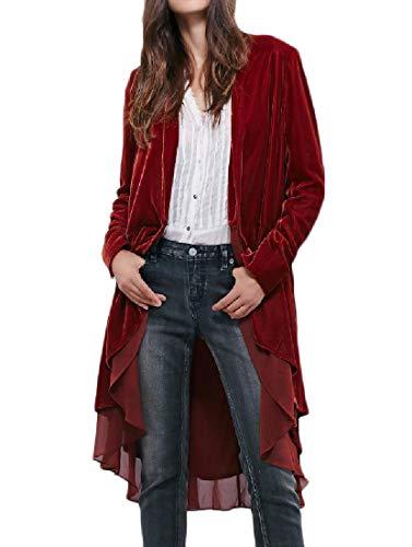 (Coolred-Women Multilayer Trench Ruffled Cardigan Velvet Duster Coat Wine Red)