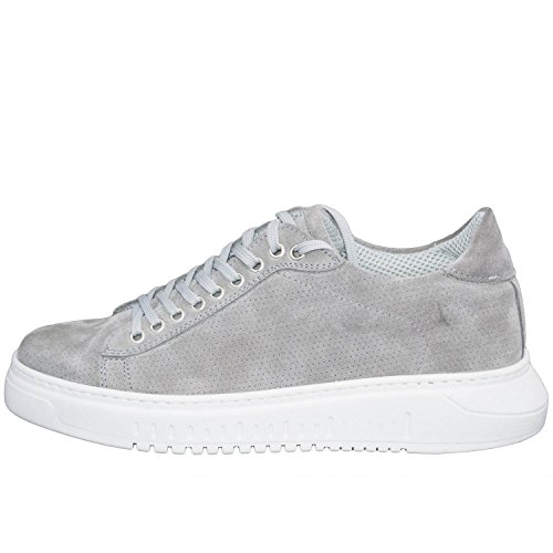Sneakers bassa scarpe uomo art 100 grigio fondo doppio army vera pelle microforata made in italy