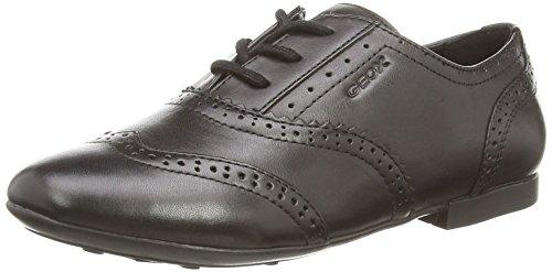 Geox Girls' J Plie 25 Flat, Black, 32 EU(1 M US Little Kid) (Leather Flats Geox)
