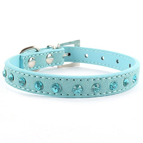 VEIREN Sapphire Rhinestones PU Leather Adjustable Pet Collar Luxury Elegant Artificial Diamonds Bling Dog Puppy Cat Collar - Blue, S