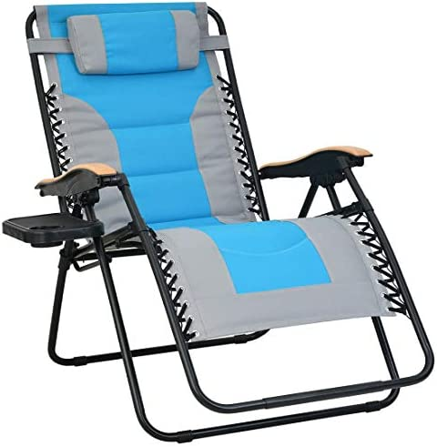 Patio Watcher Oversized Padded Zero Gravity Lounge Chair Patio Foldable Adjustable Reclining Chair