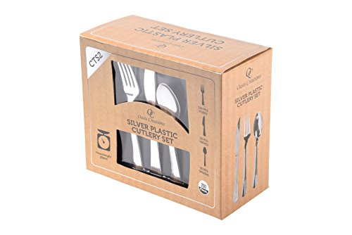 Premium Hard Silver Plastic Cutlery Set By Oasis Creations – 200 Pieces - Disposable or Washable & Reusable - Party Supplies For Birthdays, Celebrations, Buffets, Fiestas & More Party Supplies