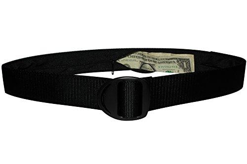 Bison Designs Crescent Money 38mm USA Made Travel Belt, Black, Medium/38-Inch