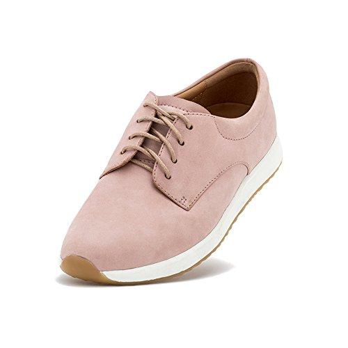 Rollie Women's Derby Sport Snow Pink, Light Pink Leather Sneakers Pink Athletic Sole Sneakers for Women with Sport Bottom, Size 11 US / 42 EU