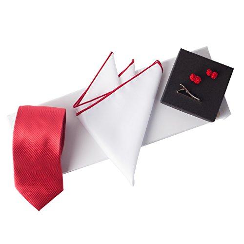 (Jacob Alexander Men's Woven Luxury Tie Pocket Square Tie Clip Silk Knot Cufflinks & Giftbox-Red)