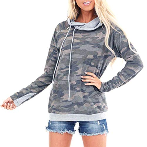 Womens Long Sleeve Camouflage Printed Elegant Pullover Sweatshirt Jumper Tops
