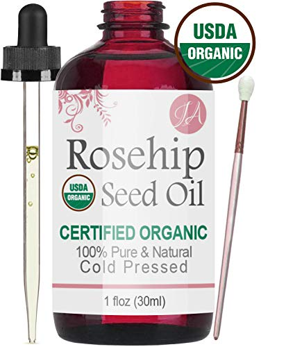 Organic Rosehip Seed Oil (100% Pure & Natural - USDA Certified Organic) Cold Pressed, Chemical Free, Unrefined - All-Natural Moisturizer for Amazing Hair, Skin, and Nails - 1oz Bottle (Sea Buckthorn Seed Oil For Hair Growth)