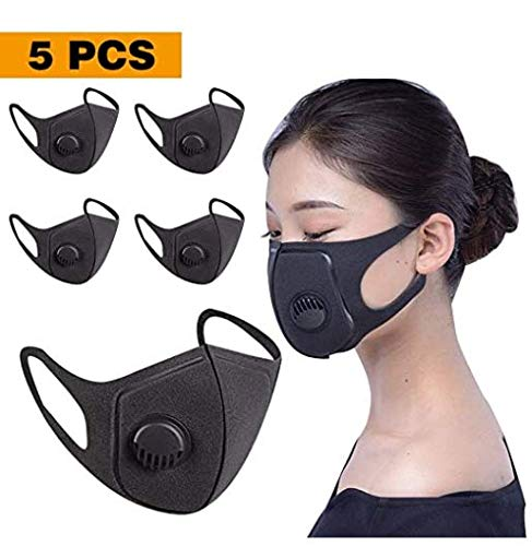 5 Pack Face Masks with Breathing - 100% Cotton, Washable, Reusable Cloth Masks - Protection from Dust, Pollen, Pet Dander, Other Airborne Irritants