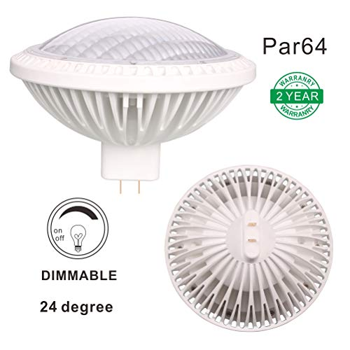 Dimmable 500W PAR64 Replacement LED 40W Warm White 2700K 120V 3800lm 24°Beam Angle GX16D Lamp Base, Pack of 1