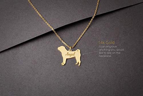 (14K GOLD Personalised SHAR-PEI DOG Necklace - Shar-Pei Name Jewelry - Gold Necklace- Dog Jewelry - Dog breed Necklace - Dog)